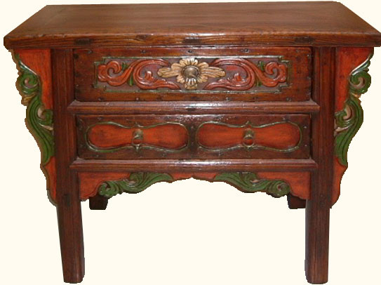 Two drawers carved Chinese antique cabinet. - Oriental Elmwood Carved Antique Cabinet 39'' Wide For Living Room