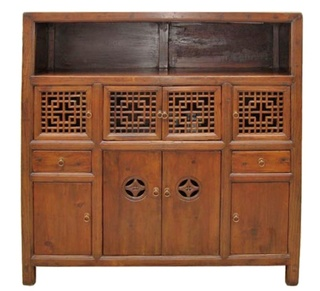 Chinese Antique Kitchen Chest With Lattice Carved Door