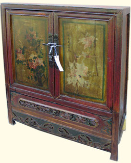34 inch wide floral painted two door chest