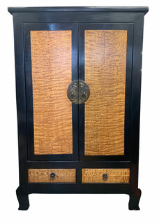 An Oriental Antique Two Door Two Tone Ming Style Cabinet.