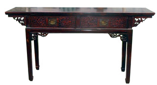 "66""W Chinese Antique Two Drawer Table"