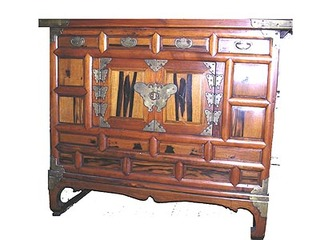"""37 by 16 by 32 """" tall Korean Antique Headside 2 door persimmon wood chest"""