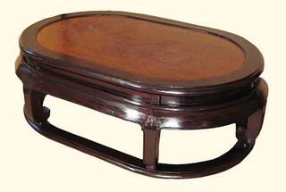 16?? high Elegant solid elmwood Oriental coffee table. Rattan top. Kang leg. 48??x30??x16??H