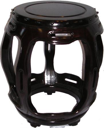 18?? Decorative solid rosewood Oriental barrel stool. 12??Dx18??H