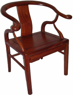 "34"" Stately solid rosewood Chinese cow horn chair."