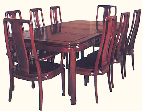 Oriental Dinning Set, Carved table and chairs seats 8 with silk ...