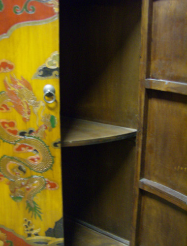 Oriental Corner Cabinet hand painted Tibetian Lacquer on doors and ...