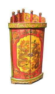 Two Door Tibetan Corner Cabinet