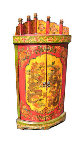 Oriental Corner Cabinet Hand Painted Tibetian Lacquer On