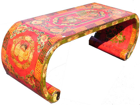 Exceptionnel Handpainted 49 Inch Tibetan Scroll Coffee Table