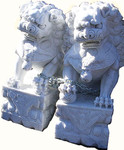 Polished marble Foo Dogs.
