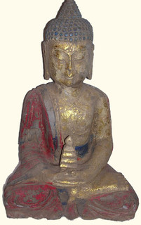 Marble Painted sitting Buddha with temple