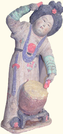 SALE Tong Style hand painted Ceramic Lady Drummer with Country style antique Finish