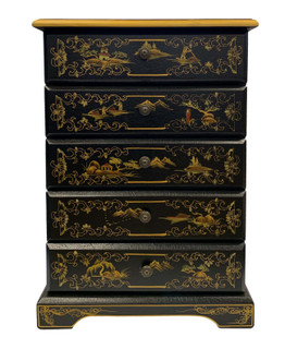 Five Drawer Oriental lacquerware Cabinet