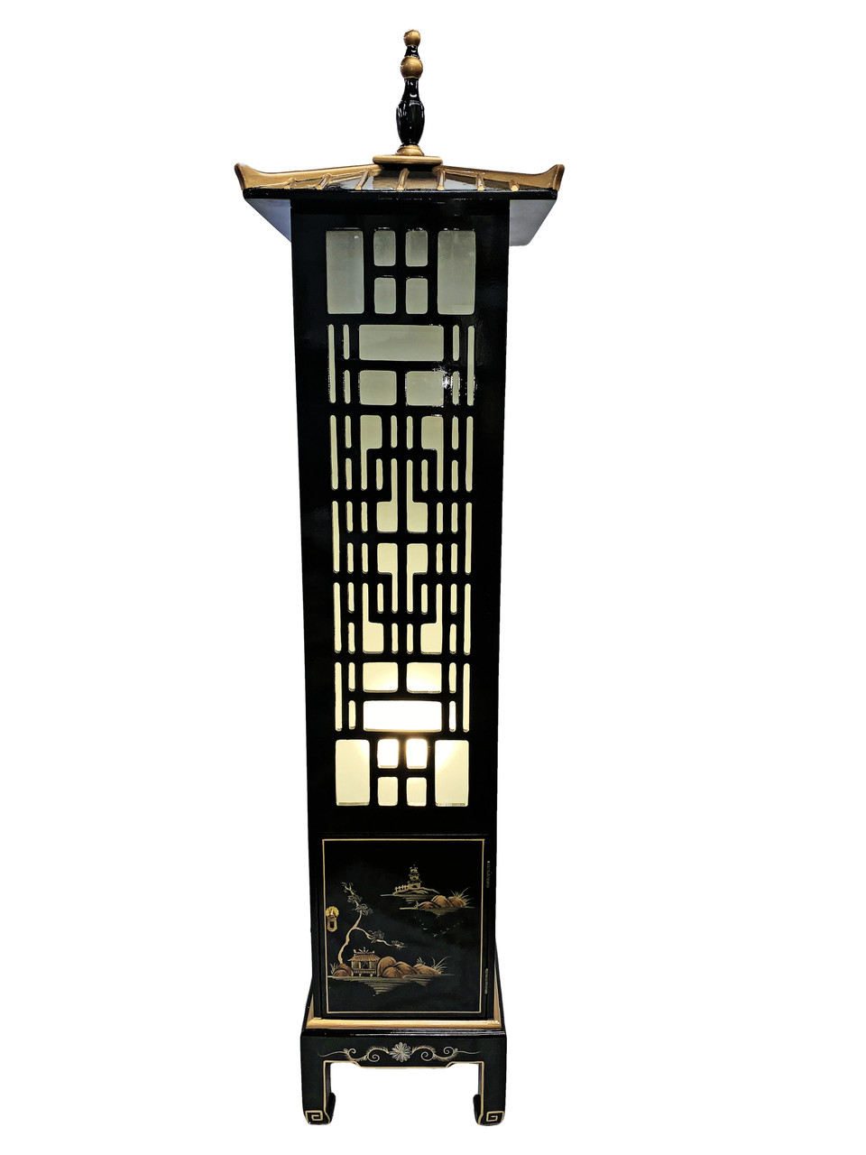 Oriental Floor Lamp Chinese Black Lacquer with Asian ...