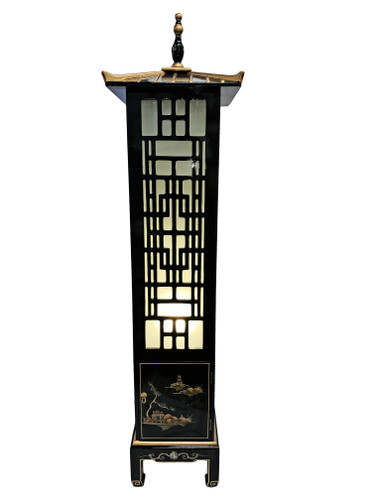 68  inch high Oriental Pagoda floor lamp in black lacquer and inlaid pearl with cabinet bottom.