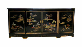 Shiny Black Oriental Buffet Hand Painted, With Shelves & Glass Top