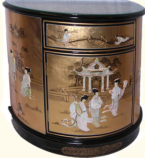 30 inch wide Half round Oriental lacqerware cabinet with glass top.