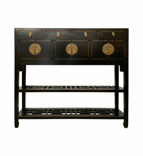 """40 """" Young Lady Oriental Lacquerware Bookcase"""