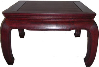 "24"" Charming solid rosewood Chinese Chow leg end table."