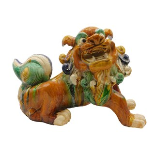 "13""h Large Chinese Ceramic Guardian Lion in Tan Glaze"