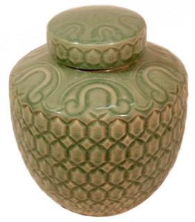 Oriental Celadon Ginger Jar in Carved Turtle Design