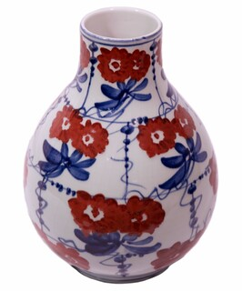 11'H Red White and Blue Gourd Vase