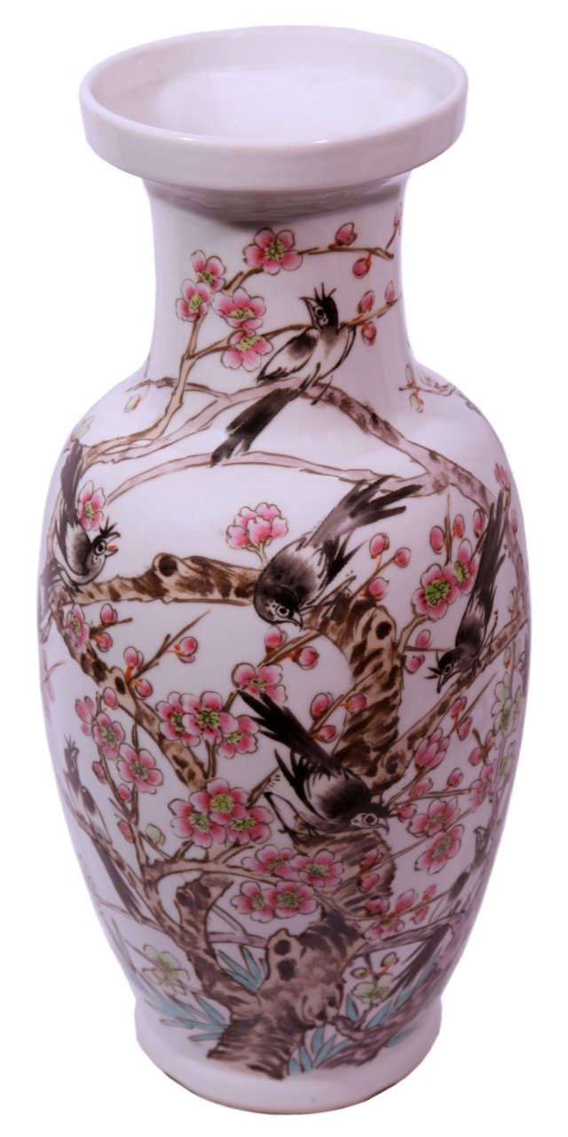 Vase In Chinese Hand Painted Porcelain Cherry Blossoms 18 H Oriental Furnishings Furniture Decor