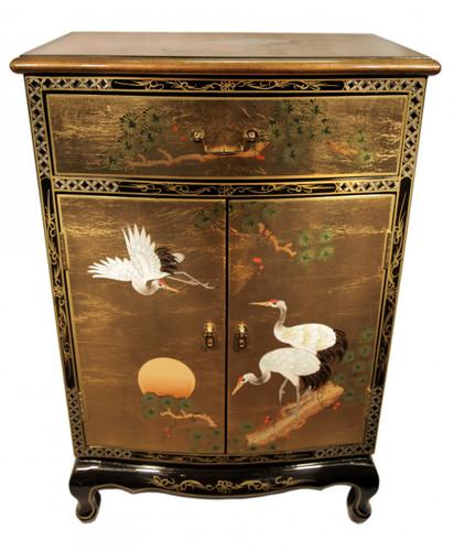 "36""Gold Leaf Round Front Shoe Cabinet"