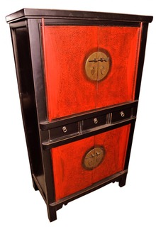 "59""H Chinese Chest On Chest Finished In Two Tone Lacquer"