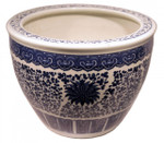 "18"" Dia. Blue and White Porcelain Planter"