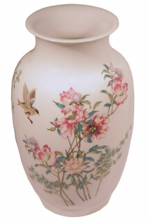 "Chinese Wide Mouth Hand Painted 16"" H. Porcelain Vase"