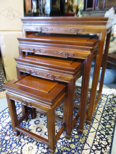 Oriental Nest Of Tables In Solid Rosewood With Key Carving