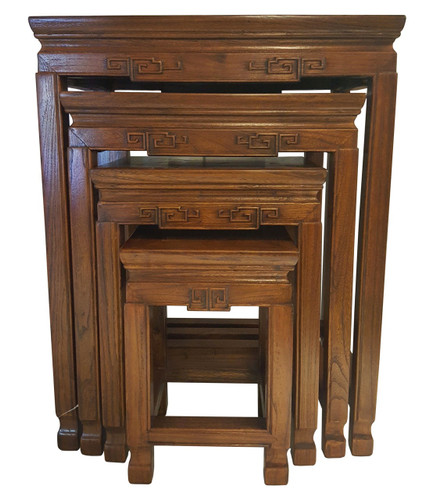 Rosewood set of 4 carved nest of table