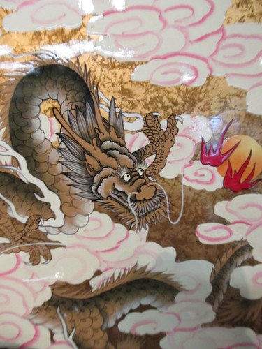 Asian Wall Art Of Gold Leaf Dragons In Hand Painted