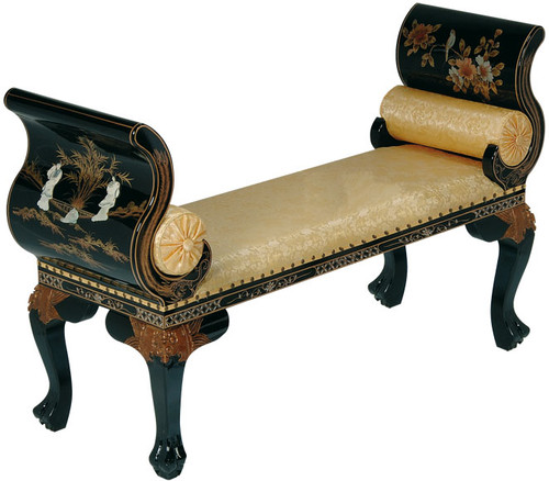 Bench In Black Lacquer With Oriental Mother Of Pearl Inlay With French Legs And Glass Top