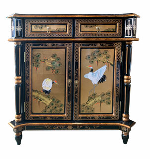 """32""""H Empire Style Oriental Cabinet in Black lacquer with Gold Leaf Handpainted in Chinese Bird and Flower"""