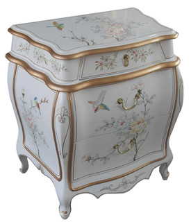 Oriental Bombe End Table in White Lacquer