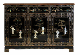 "46"" W. Oriental Black Lacquer Buffet Inlaid with Mother of Pearl"