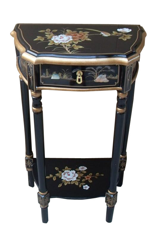 oriental telephone table hand painted black lacquer black laquer furniture
