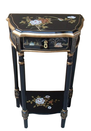 End Table in Asian Hand Painted Black Lacquer for Living Room 33H