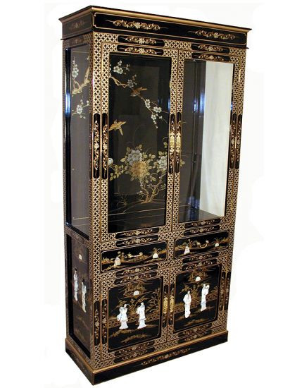 Curio Cabinet In Oriental Hand Painted Lacquer 72 High