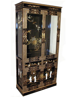 Hand Painted Chinese Lacquer Curio Cabinet