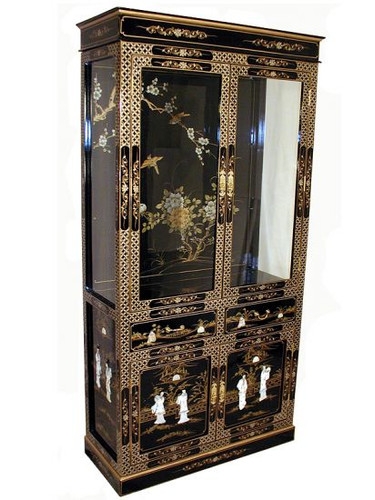 Hand Painted Chinese Lacquer Curio Cabinet Oriental
