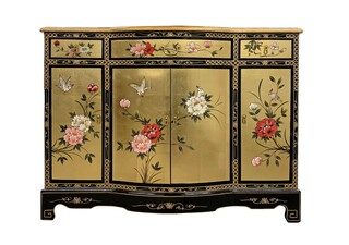 "48""W. Oriental Lacquer Cabinet With Rounded Center and Hand Painted Floral"