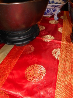 "78""  Good Fortune Red  and Gold Embroidered Silk Table Runner"