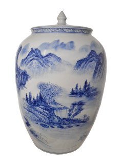 Chinese Blue and White Wide Mouth Jar