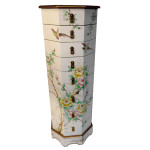 Asian White Lacquer Painted Pedestal with Drawers