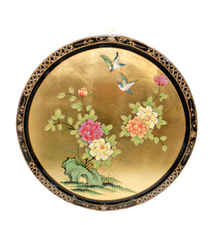 Black and Gold Leaf Lacquered Oriental Round Hand Painted Floral Wall Art