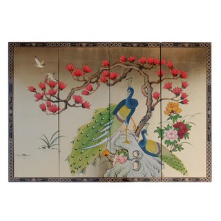 Set of Four Oriental Wall Plaques Hand Painted Peacock on Gold Leaf with Brass Hangers.